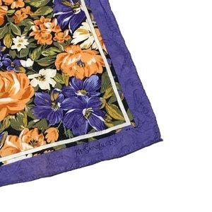 YSL Vintage Purple Floral Handpocket Scarf